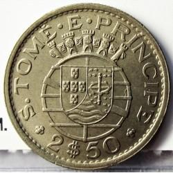 Tome y Principe.-Santo 2,5  Escudos. 1971. CUNI. 3,3gr. Ø19,5mm. SC. (Tono original). KM. 19