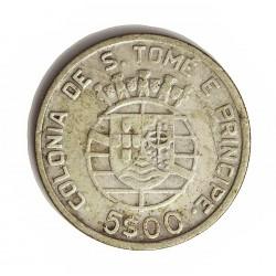 Tome y Principe.-Santo 5  Escudos. 1939. AG. 7gr. Ley:0,650. Ø25mm. MBC/MBC+. MUY ESCASO/A. KM. 6
