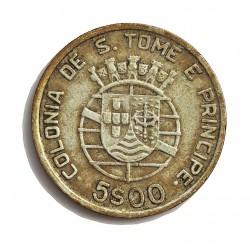 Tome y Principe.-Santo 5  Escudos. 1948. AG. 7gr. Ley:0,650. Ø25mm. MBC+/EBC-. MUY ESCASO/A. KM. 6