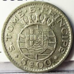 Tome y Principe.-Santo 5  Escudos. 1962. AG. 4gr. Ley:0,600. Ø21mm. MBC+. KM. 20