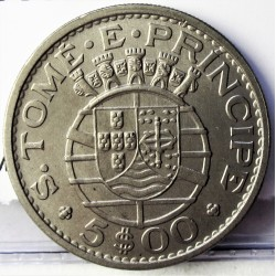 Tome y Principe.-Santo 5  Escudos. 1971. CUNI. 7gr. Ø24mm. SC. (Tono). KM. 22