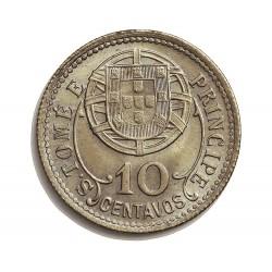 Tome y Principe.-Santo 10  Ctvo.  1929. CUNI. 2,5gr. Ø20mm. FDC. (Tono original). RARO/A. en esta calidad. KM. 2