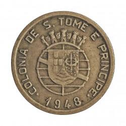 Tome y Principe.-Santo 50  Ctvo.  1929. NI/AE. 4,5gr. Ley:0,000. Ø23mm. MBC-/MBC. MUY ESCASO/A. KM. 8
