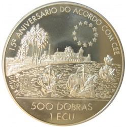 Tome y Principe.-Santo 500  Dobra. 1993. CUNI. 26,44gr. (Dos valores: 1 Ecu y 500 Dobras). (1 Ecu)-(15º Anv.Acuerdo CEE). Ø38mm.