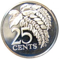 Trinidad y Tobago 25 Cts. 1975. CUNI. 3,5gr. (Chaconia-Flor). Ø20mm. PRF. KM. 28