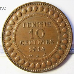 Tunez 10 Cts. 1914. (AH.1332). A-(Paris). AE. 9,88gr. Ø30mm. SC-/SC. (Lev.patina). KM. 236