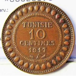 Tunez 10 Cts. 1917. (AH.1336). A-(Paris). AE. 9,88gr. Ø30mm. MBC/MBC+. KM. 236