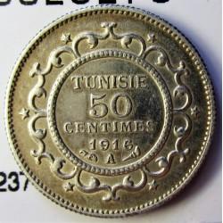 Tunez 50 Cts. 1916. (AH.1335). A-(Paris). AG. 2,5gr. Ley:0,830. Ø18mm. SC. KM. 237
