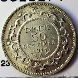 Tunez 50 Cts. 1917. (AH.1335). A-(Paris). AG. 2,5gr. Ley:0,830. Ø18mm. SC. KM. 237