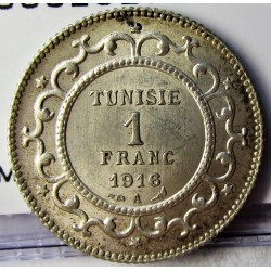 Tunez 1 Francos. 1916. (AH.1335). A-(Paris). AG. 5gr. Ley:0,835. Ø23mm. SC. KM. 238