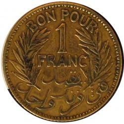 Tunez 1 Francos. 1921. A-(Paris). AL/AE. 4,14gr. (AH.1340). Ø23mm. MBC+/EBC-. Limpiada. KM. 247