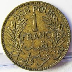 Tunez 1 Francos. 1926. (AH.1344). (a)-Paris. AL/AE. 4gr. Ø23mm. MBC+. KM. 247