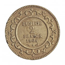 Tunez 2 Francos. 1908. (AH.1326). A-(Paris). AG. 10gr. Ley:0,835. Ø27mm. MBC. KM. 239