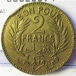 Tunez 2 Francos. 1921. (AH.1340). (a)-Paris. AL/AE. 8gr. Ø27mm. MBC+. (Golpe cto.). KM. 248