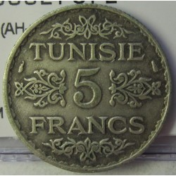 Tunez 5 Francos. 1934. (AH.1353). A-(Paris). AG. 5gr. Ley:0,680. Ø23mm. MBC+. KM. 261