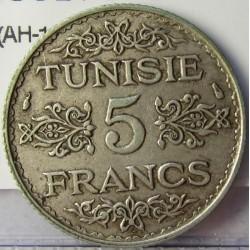 Tunez 5 Francos. 1936. (AH.1355). A-(Paris). AG. 5gr. Ley:0,680. Ø23mm. MBC+. KM. 261
