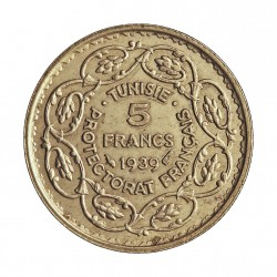 Tunez 5 Francos. 1939. (AH.1358). A-(Paris). AG. 5gr. Ley:0,680. Ø24mm. EBC+/SC-. KM. 264