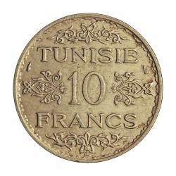 Tunez 10 Francos. 1934. A-(Paris). AG. 10gr. Ley:0,680. (AH.1353). Ø27mm. EBC/EBC+. KM. 262