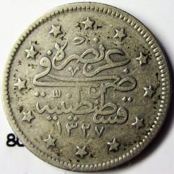 Turquia 2 Kurus. 1911. (1327/3). AG. 2,41gr. Ley:0,830. Ø18mm. MBC-. MUY ESCASO/A. KM. 808