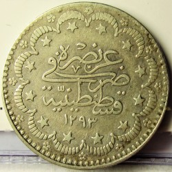 Turquia 5 Kurus. 1906. (1293/32). AG. 6,01gr. Ley:0,830. Ø23,5mm. MBC-/MBC. (Marquitas). KM. 737