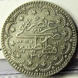Turquia 5 Kurus. 1909. (1327/1). AG. 6,01gr. Ley:0,830. Ø23,5mm. MBC+. (Marquitas). KM. 750