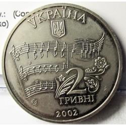Ukrania 2 Hryunia. 2002. CUNI. 12,8gr. (Compositor Mykola Lysenko). Ø31mm. SC. KM. 154