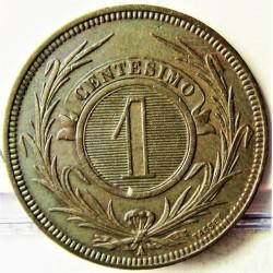 Uruguay 1 Cts. 1869. A-(Paris). AE. 5gr. Ø25mm. EBC+. (Insig.gpcto.Patina.). KM. 11