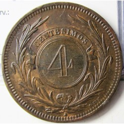 Uruguay 4 Cts. 1869. A-(Paris). CU. 20gr. Ø35mm. EBC+/SC-. ESCASO/A. en esta conservacion. KM. 13
