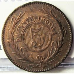 Uruguay 5 Cts. 1857. D-(Lyon). CU. 4,2gr. Ø23mm. MBC-. KM. 8