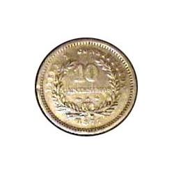 Uruguay 10 Cts. 1877. A-(Paris). Ancla a izquierda. AG. 2,5gr. Ley:0,900. Ø18mm. MBC/MBC+. KM. 14
