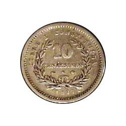 Uruguay 10 Cts. 1877. A-(Paris). Ancla a izquierda. AG. 2,5gr. Ley:0,900. Ø18mm. RC/RC+. KM. 14
