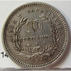 Uruguay 10 Cts. 1877. A-(Paris). Ancla a izquierda. AG. 2,5gr. Ley:0,900. Ø18mm. EBC-/EBC. KM. 14