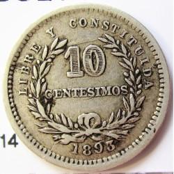 Uruguay 10 Cts. 1893. (Sin marca de Ceca). AG. 2,5gr. Ley:0,900. Ø18mm. MBC-/MBC. KM. 14