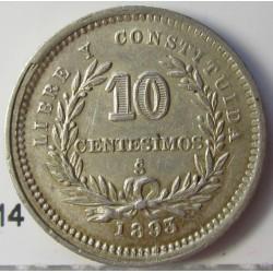 Uruguay 10 Cts. 1893. Sº(Santiago). (Ancla a izquierda). AG. 2,5gr. Ley:0,900. Ø18mm. EBC/EBC+. KM. 14