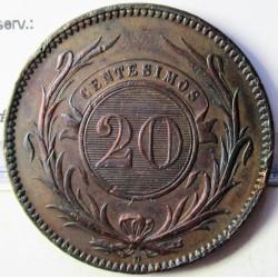 Uruguay 20 Cts. 1857. D-(Lyon). CU. 17,3gr. Ø33,5mm. MBC-/MBC. KM. 9