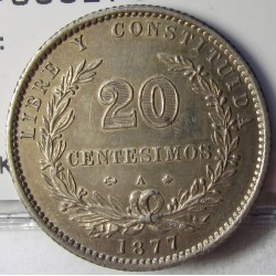 Uruguay 20 Cts. 1877. A-(Paris). (Ancla a izquierda). AG. 5gr. Ley:0,900. Ø25mm. EBC. KM. 15