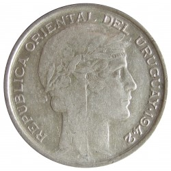 Uruguay 20 Cts. 1942. Sº(Santiago). AG. 3gr. Ley:0,720. Ø19mm. MBC+. KM. 29