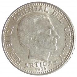 Uruguay 20 Cts. 1954. Sº(Santiago). AG. 3gr. Ley:0,720. Ø19mm. EBC+/SC-. KM. 36