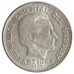 Uruguay 20 Cts. 1954. Sº(Santiago). AG. 3gr. Ley:0,720. Ø19mm. SC-/SC. (Tono original). KM. 36