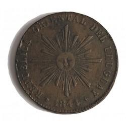 Uruguay 40 Cts. 1844. CU. 32,5gr. Ø38mm. MBC-. (Para este tipo de moneda). RARO/A. KM. 3