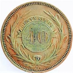 Uruguay 40 Cts. 1857. D-(Lyon). CU. 34,4gr. Ø38mm. MBC+. (Marquitas.Patina). KM. 10