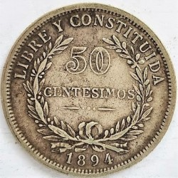 Uruguay 50 Cts. 1894. AG. 12,5gr. Ley:0,900. Ø33mm. MBC/MBC+. KM. 16