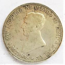 Uruguay 50 Cts. 1916. AG. 12,5gr. Ley:0,720. (Artigas). Ø30mm. MBC-/MBC. (Gpcito.). KM. 22