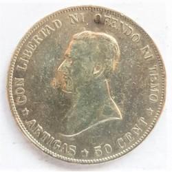 Uruguay 50 Cts. 1917. AG. 12,5gr. Ley:0,900. (Artigas). Ø30mm. MBC-. (Limpiada). KM. 22