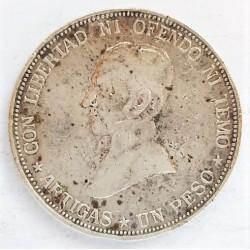 Uruguay 1 Pesos. 1917. AG. 25gr. Ley:0,900. (Artigas). Ø37mm. MBC-/MBC. (Marquitas). KM. 23