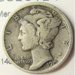 Usa 1 Dime. 1919. Filadelfia. AG. 2,5gr. Ley:0,900. (Mercurio). Ø18mm. MBC-. KM. 140