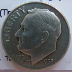 Usa 1 Dime. 1953. D-(Denver). AG. 2,5gr. Ley:0,900. (Tipo Roosevelt). Ø18mm. MBC+. KM. 195
