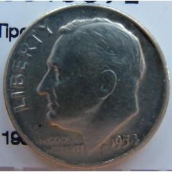Usa 1 Dime. 1954. Filadelfia. AG. 2,5gr. Ley:0,900. (Tipo Roosevelt). Ø18mm. MBC/MBC-. KM. 195