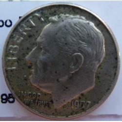 Usa 1 Dime. 1957. D-(Denver). AG. 2,5gr. Ley:0,900. (Tipo Roosevelt). Ø18mm. MBC+. KM. 195
