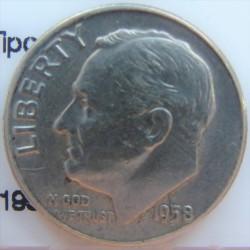 Usa 1 Dime. 1958. Filadelfia. AG. 2,5gr. Ley:0,900. (Tipo Roosevelt). Ø18mm. MBC+. KM. 195